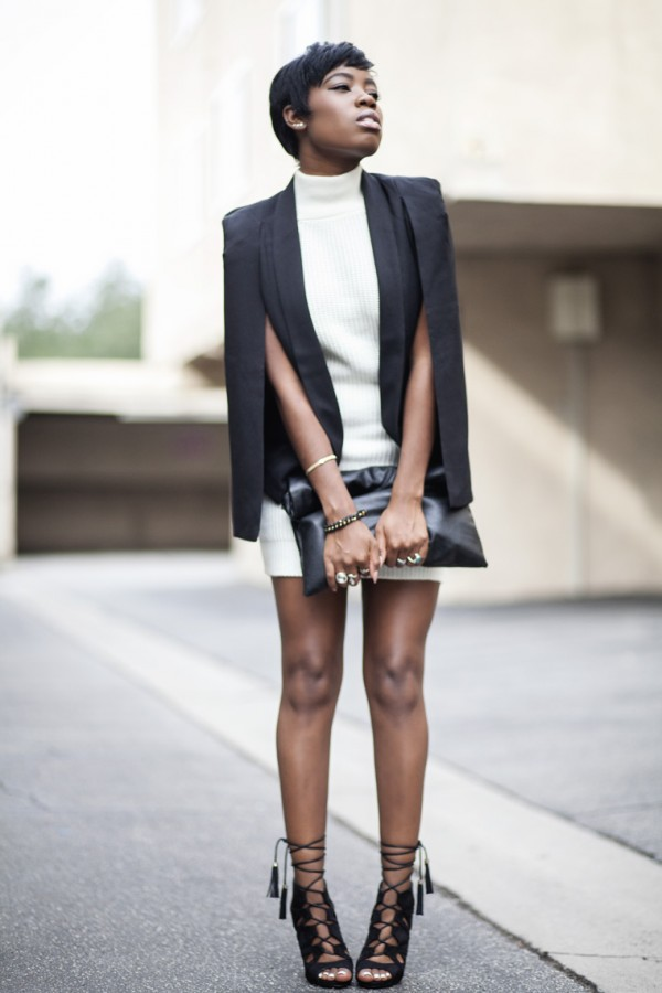 Cape jacket, Cape, while turtleneck dress, leather, sexy shoes, envelope purse, sexy black girl, cream dress, Sophie David-Mbamara, Sophiestylish, Sophie David