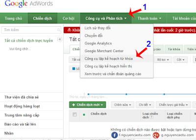 côn cụ lập kế hoạch từ khóa của Google Ads