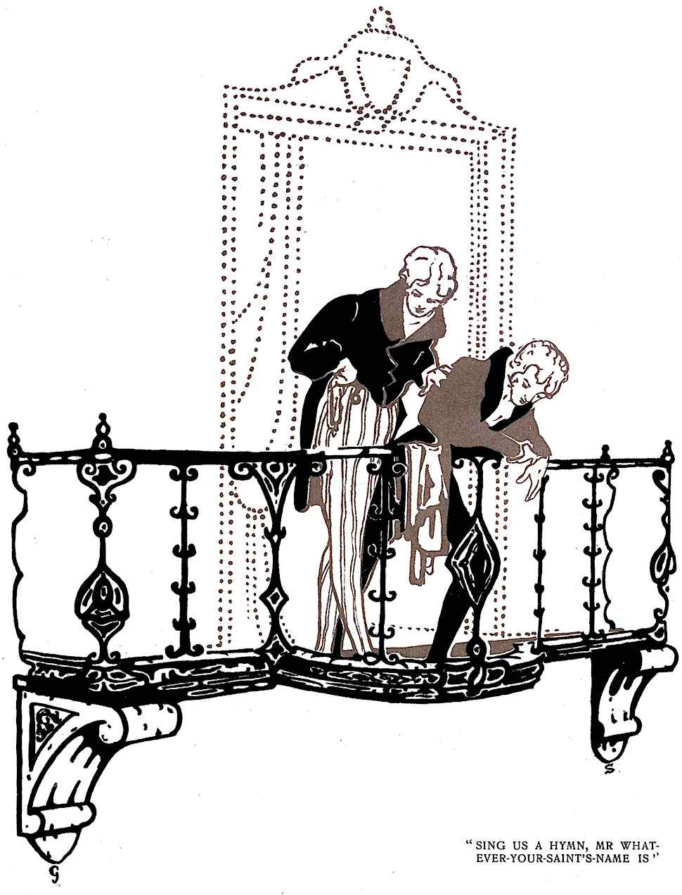a George Sheringham illustration of two dandies on a balcony