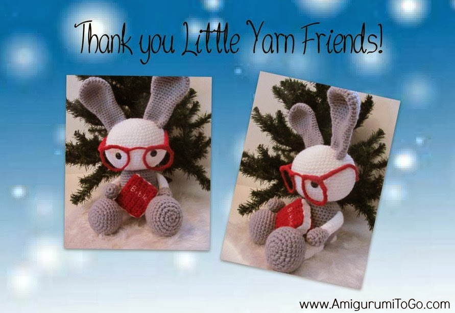 crochet bunny, bible and glasses