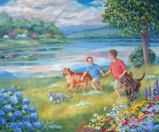 Two boys and their pets in a happy place custom watercolor
