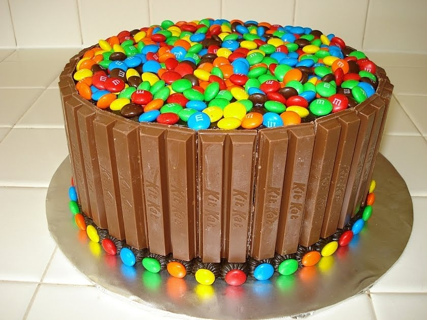 Chocolate Cake With M Ms And Kit Kats