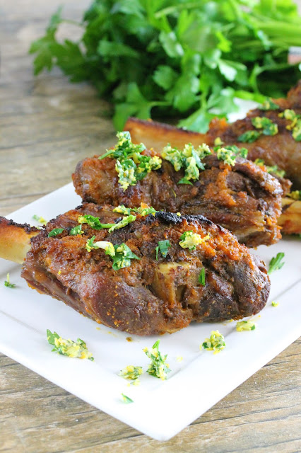 Easy, moist, and tender lamb shank braised with the ease of the slow cooker. Topped off with a citrus gremolata for that extra special touch.