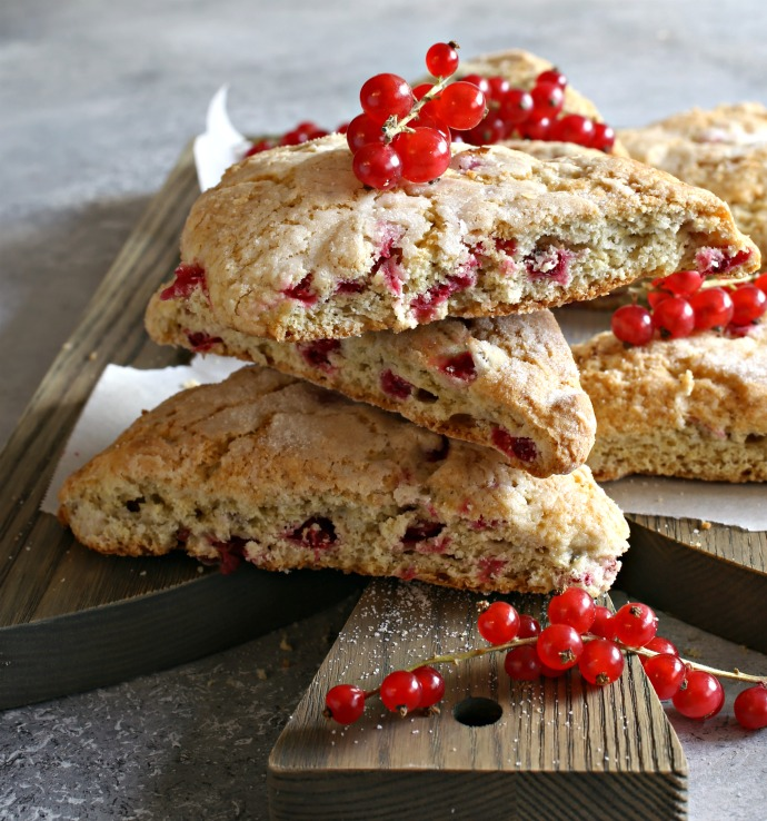 Scones baked with fresh red currants