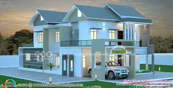 3255 square feet sloped roof Kerala home