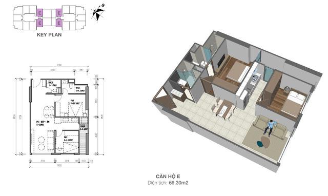 Mặt bằng căn hộ 66,3 m2 chung cư Eco Dream City