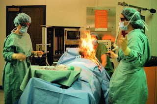 Patient caught fire while undergoing surgery
