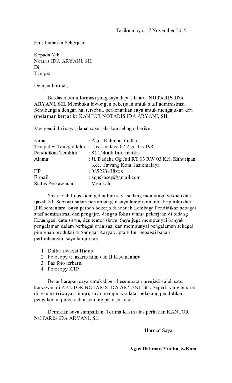 Contoh Surat Lamaran Kerja Ke Notaris Terbaru 2017 - ben jobs