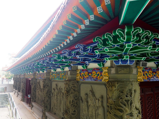 Colourful roof designs on Po Lin Monastery, Ngong Ping, Lantau Island, Hong Kong