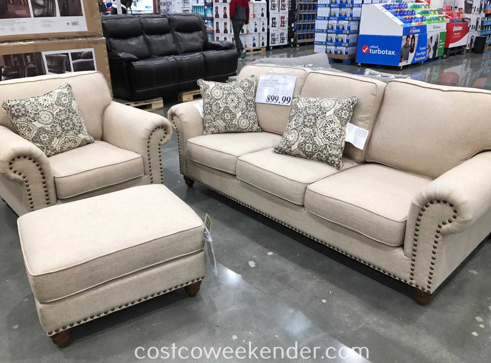 Relax in your home on the Synergy Home Fabric Sofa, Chair & Ottoman Set