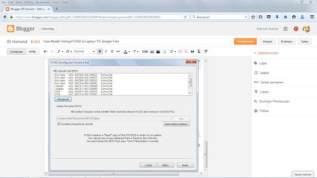 Cara Setting Bios dan Install PCSX 2