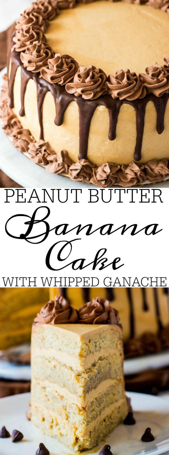 PEANUT BUTTER BANANA CAKE WITH WHIPPED GANACHE #dessert #cake #peanutbutter #banana