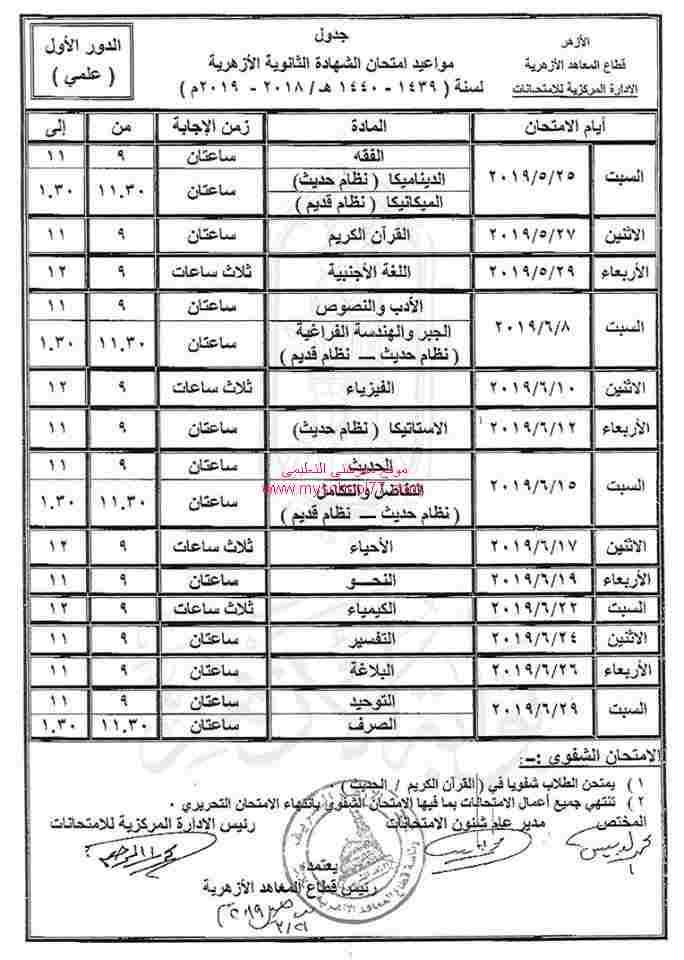 جدول امتحانات الثانوية الأزهرية 2019 علمى - موقع مدرستى