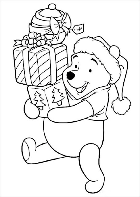 colorea Winnie the pooh navideño