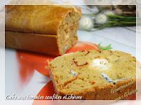 Cake salé farine de pois chiches, tomates confites et chèvre