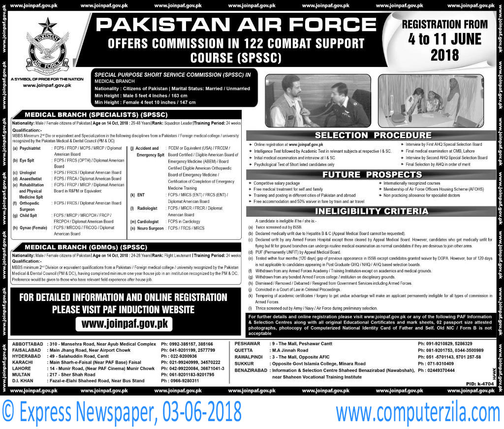 Commission in 122 combat Support Course (SPSSC) at Pakistan Air Force