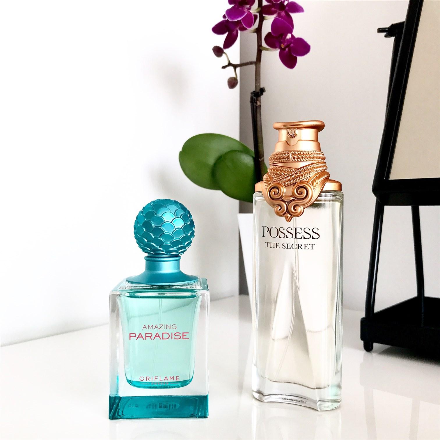zdjęcie przedstawiające perfumy Oriflame Posess The Secret i Amazing Paradise