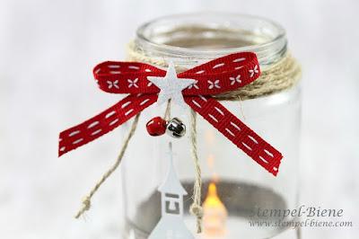 Stampinup; Winterstädchen; Windlicht Weihnachten; Bastelanleitung Windlicht; Weihnachtskerze basteln; Weihnachtsworkshop Stampinup; Stempel-biene