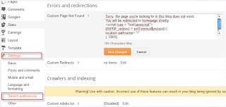mengalihkan homepage bloger halaman 404 eror