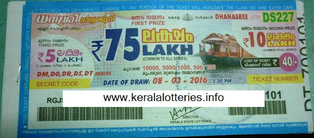 Kerala lottery result of DHANASREE on 22/01/2013