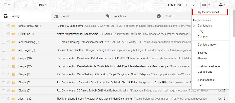 Merubah tampilan email Google
