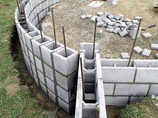 blocks and reinforcement rods used in building