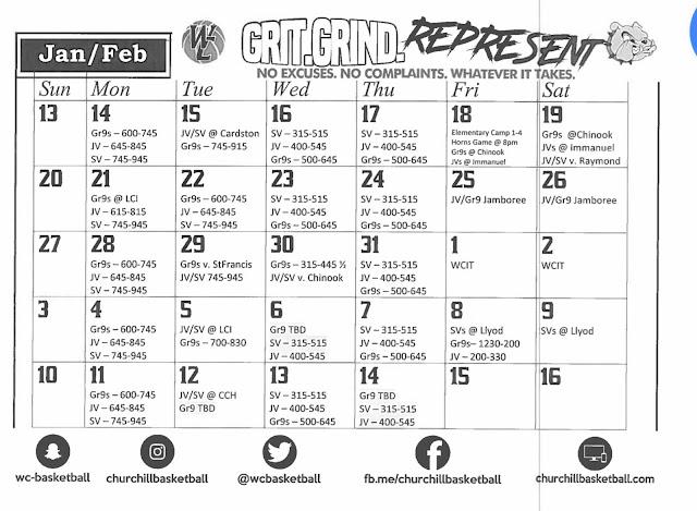 Jan/Feb Schedule