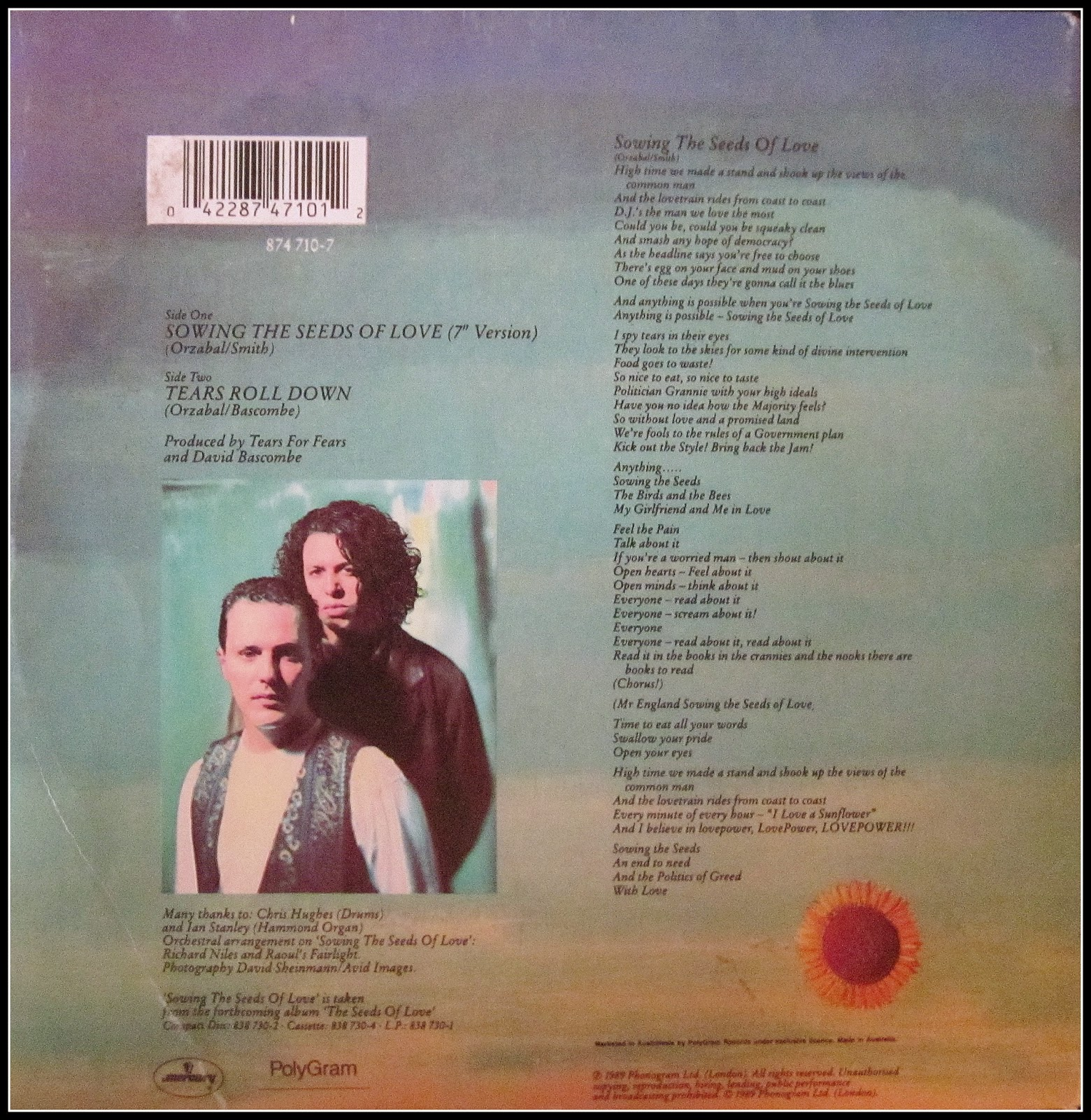45s list my record room tears for fears sowing the seeds of love picture sleeve vg nz 5 fandeluxe Choice Image