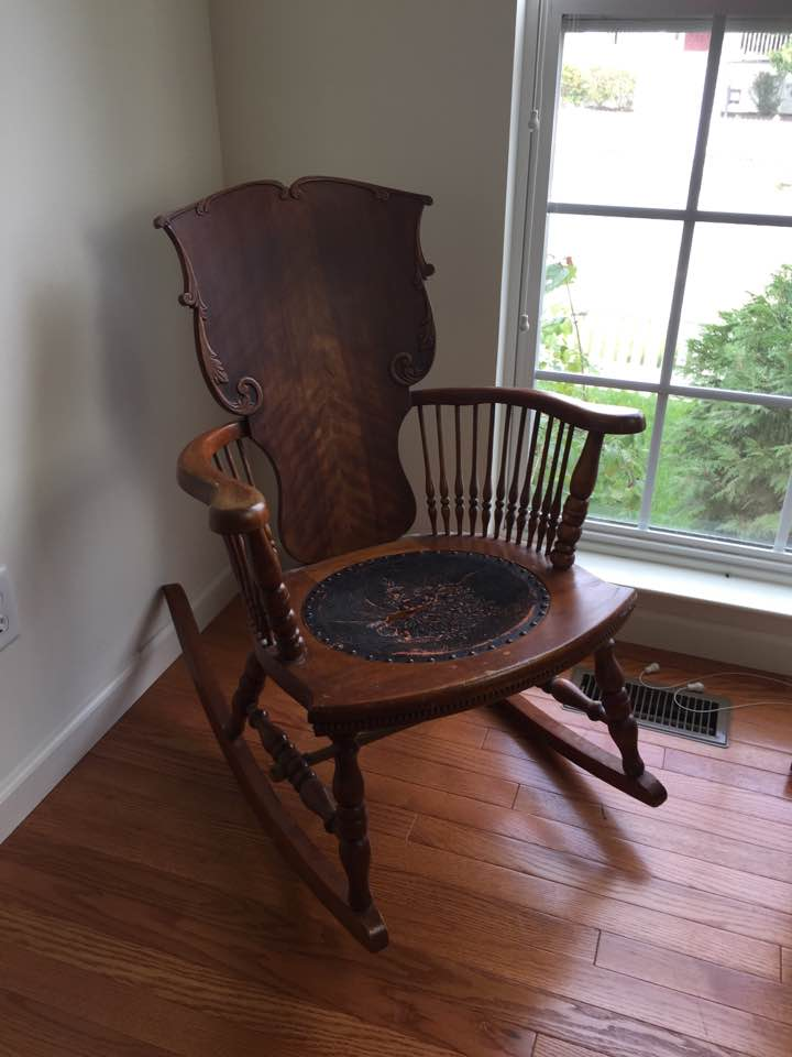 Antique Rocking Chair: Seat replacement and Painted Finish