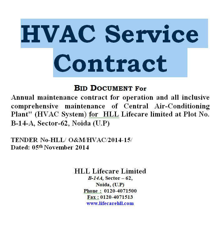 HVAC Service Contract form template - doc Sample Contracts