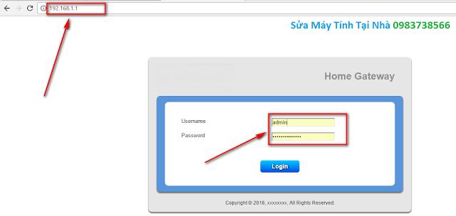 Nhập mật khẩu để vào trang của modem