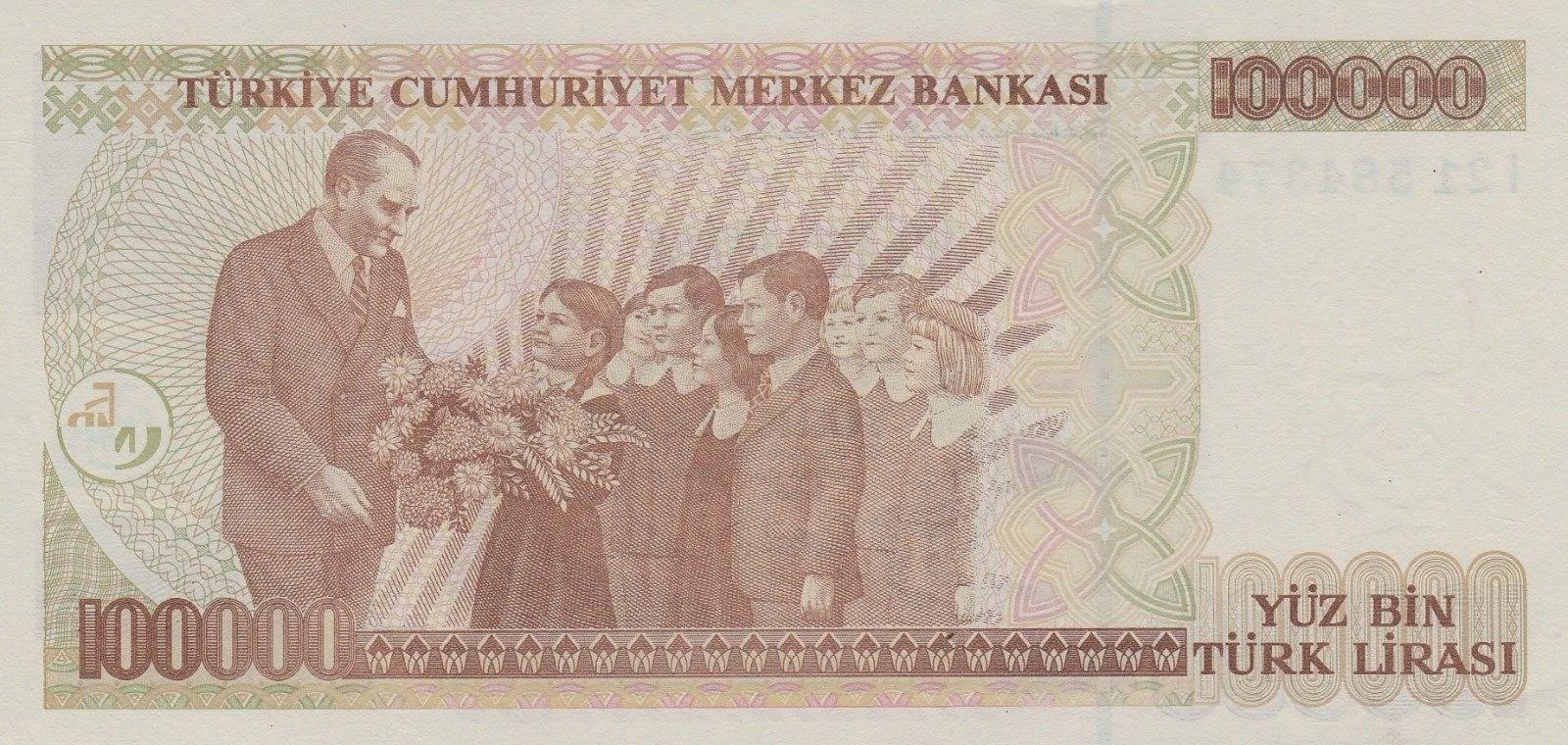 100000 Turkish Lira, Children presenting flowers to Atatürk