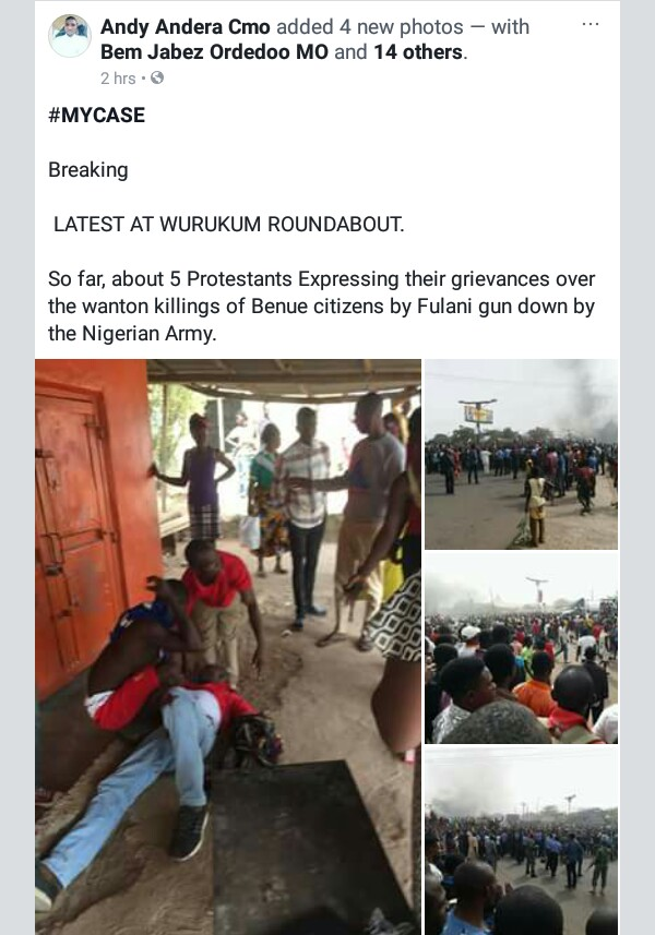 Photos: Soldiers allegedly shoot dead some residents protesting against Fulani herdsmen killings in Benue State