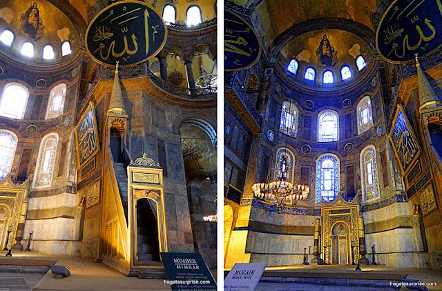 O Mimbar (púlpito ) e o Mihab nicho que aponta a direção de Meca no interior da Basílica de Santa Sofia em Istambul