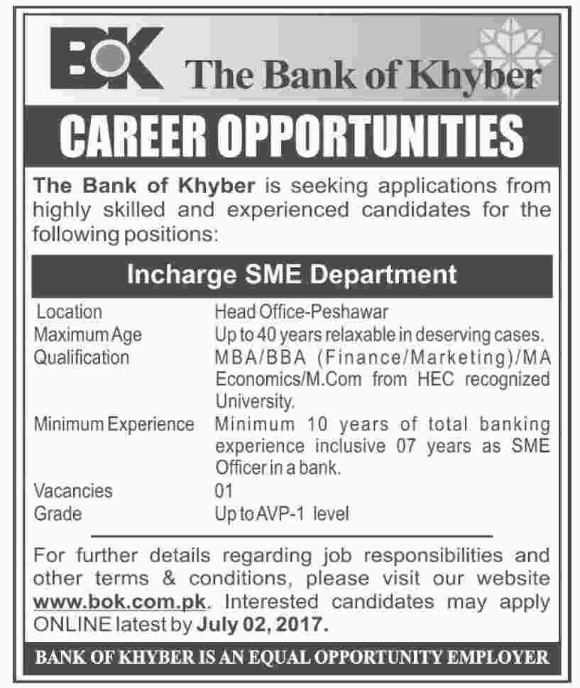 Incharge SME Department Jobs in The Bank Of Khyber Peshawar 23 June 2017.