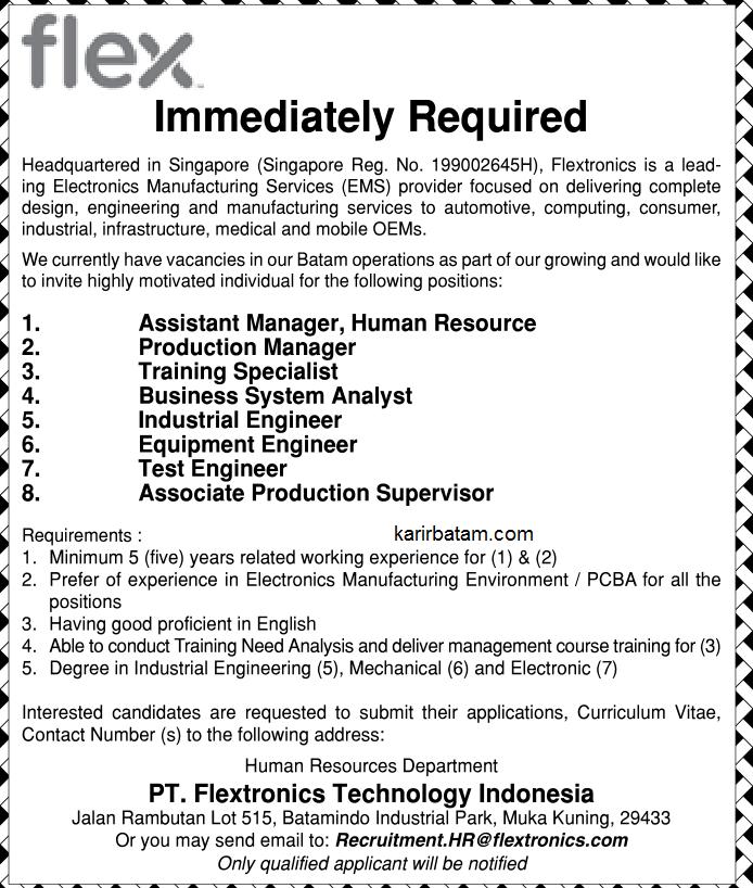 Lowongan Kerja PT. Flextronics Technology Indonesia