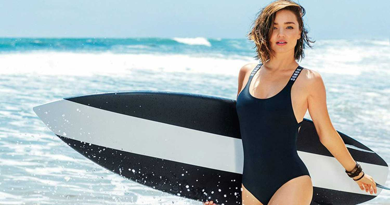 Miranda Kerr gets into swimwear for Bonds Campaign