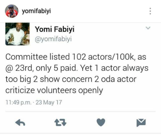 Moji Olaiya burial committee member, Yomi Fabiyi, fires back at actors Yomi Fashlanso and Funke Adesiyan.