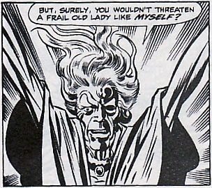 During her first ever appearance, Agatha Harkness raises her arms and threatens the Frightful Four