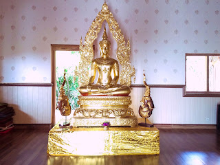 Bright Gold Color Of Budha Statue In The Worship Room Brahmavihara Arama Monastery North Bali