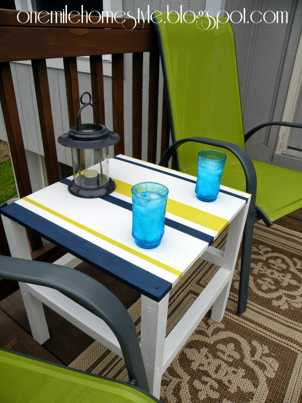 Navy, White and Citron Outdoor Table - DIY