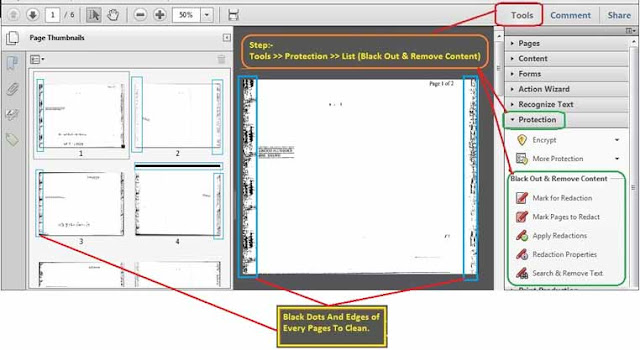 Redaction process to clean pdf