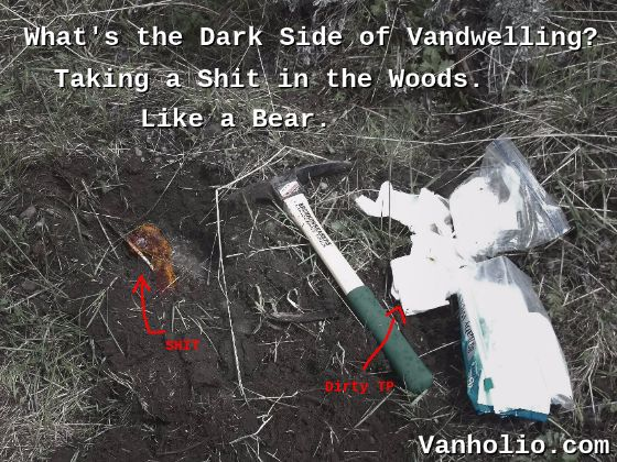 "Photo of cathole with shit and pee in it, next to used toilet paper, baby wipes, and handheld mattock/pick. Text says, ""The Dark Side of Vandwelling? Shitting in the Woods. Like a Bear."" Vanholio.com"