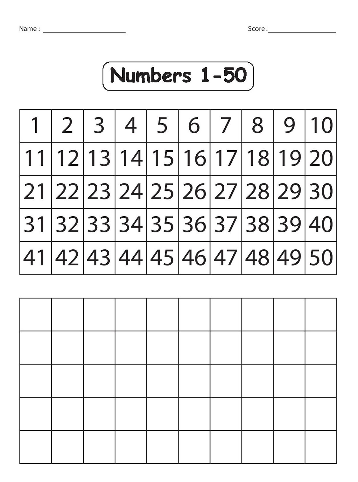 1 50 Number Recognition Assessment Worksheet