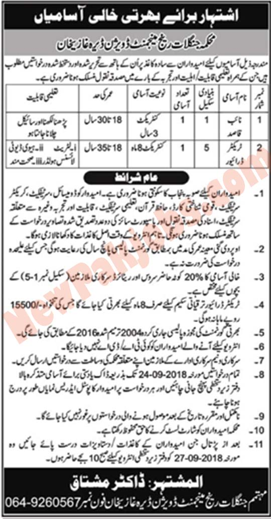 Goverment Jobs In Forest Department DG Khan Division