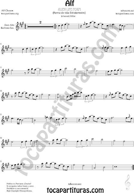 Alf Partitura de Saxofón Alto y Barítono Sax Sheet Music for Alto Saxophone y Baritone Saxo