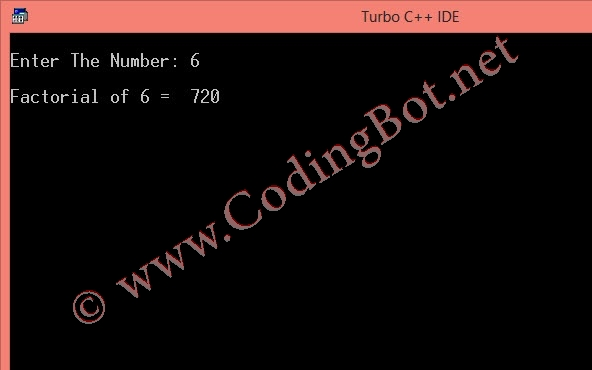 Find Factorial Of a Number Using Recursion C Program
