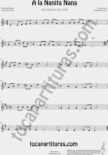 A la Nanita Nana Partitura fácil para flauta dulce y e instrumentos en clave de sol Villancico Infantil Popular Easy Carol Sheet Music in treble Clef