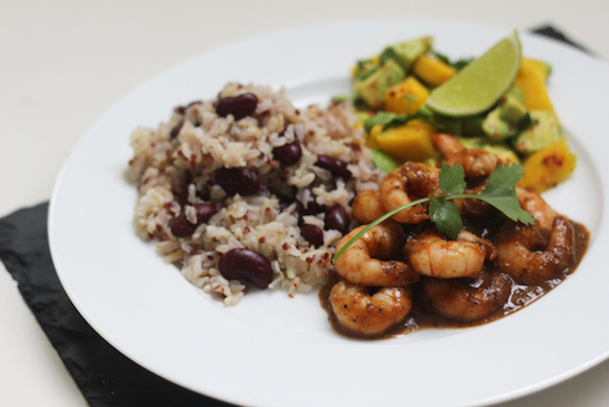 jerk king prawns with rice and peas