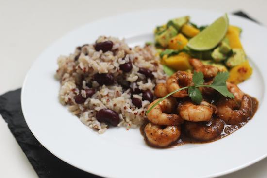 jerk king prawns with rice and peas
